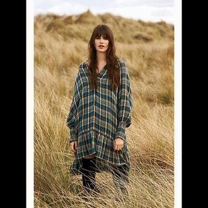 Free People Red Moon Green Plaid Tunic Dress
